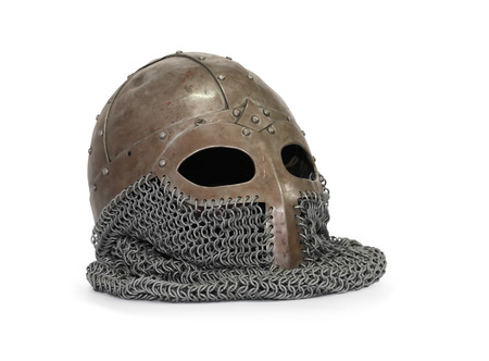 chain armour: Medieval helmet with chain armour on white background  Clipping path is included
