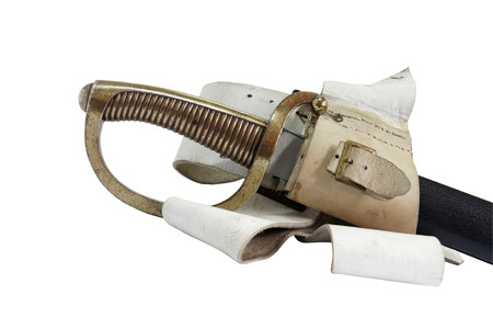hilt: Closeup of elegance antique sabre with nice brass hilt on white background