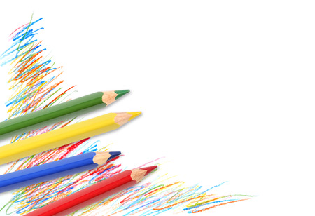 descriptive color: Few color pencils on white paper with abstract drawing