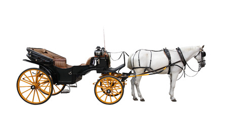 brougham: Horse and nice vintage coach with big yellow wheels  Isolated on white Stock Photo