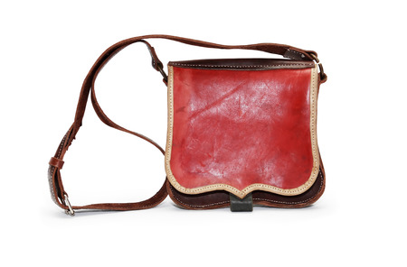 haversack: Ancient military leather knapsack on white