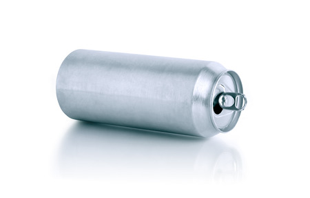 beer can: Empty open aluminum drink can on white background