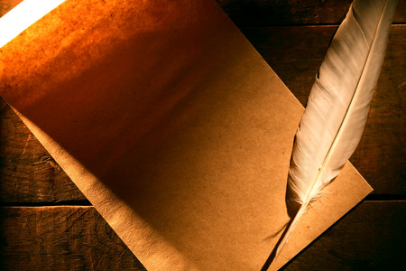 quill pen: Paper and quill pen on nice old wooden background