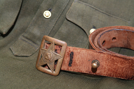 world war two: World War Two Soviet officer old leather belt and clothing