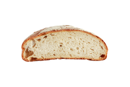 cosiness: Half of loaf bread isolated on white background. Clipping path is included Stock Photo