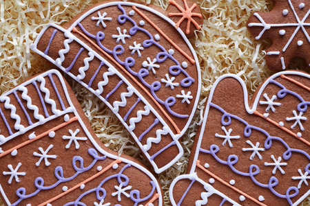 bisquit: Christmas symbol. Closeup of various ginger cookies in box