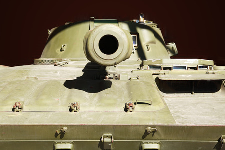 armoring: Military treat concept. Closeup of armored carrier barrel