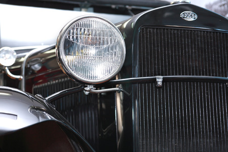 russian car: TECHNICAL MUSEUM, CHERNOGOLOVKA, RUSSIA - MARCH 15, 2015: Closeup of vintage Russian car GAZ-A produced in1932. This automobile based on Ford-A (USA) Editorial