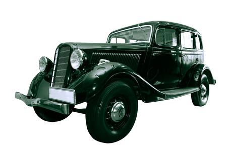 motorcar: Black vintage motor-car isolated on white background