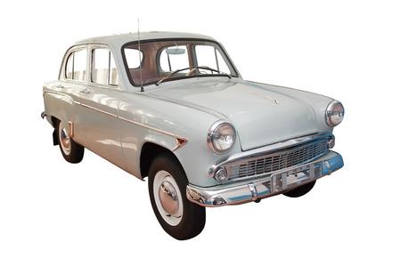 motor de carro: Retro 1950-1960 motor de coche aislado en fondo blanco con trazado de recorte