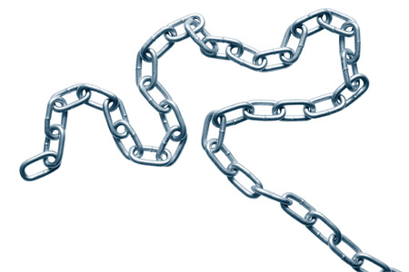 servitude: Metal chain isolated on white background Stock Photo