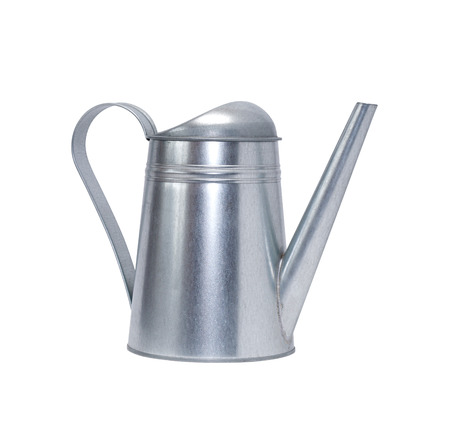 clipping: Metal watering can isolated on white background with clipping path Stock Photo