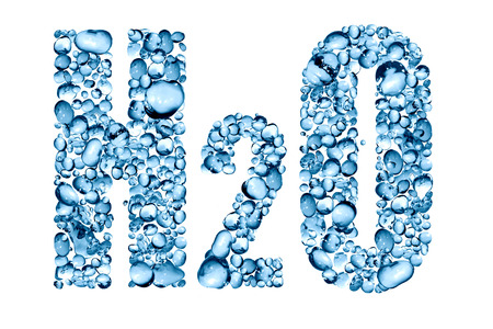 h2o: H2O inscription made from lot of blue water drops