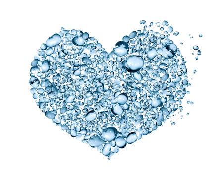silhouette coeur: En forme de coeur fait de beaucoup de gouttes d'eau bleues