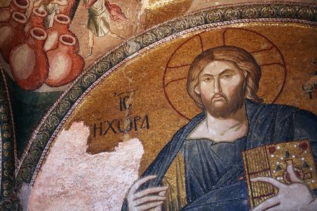 byzantium: Istanbul, Turkey - July 6, 2015: Beautiful Byzantium mosaic fresco of Jesus Christ in Kariye Mosque, Istanbul, Turkey