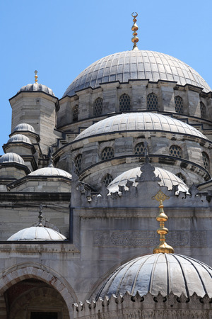 new ages: View of famous ancient New Mosque against blue sky, Istanbul, Turkey