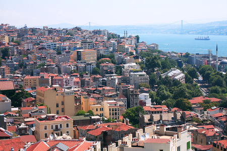 bosporus: Istanbul, Turkey - July 8, 2015: View of Bosporus from Galata Tower Editorial