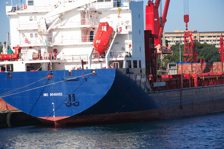 nautical   vessel: Istanbul, Turkey - July 7, 2015. Closeup of nautical vessel shipment in harbour Editorial