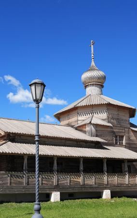 street creed: Old Russian wooden Orthodox church against blue sky, Sviyazhsk island,Tatarstan