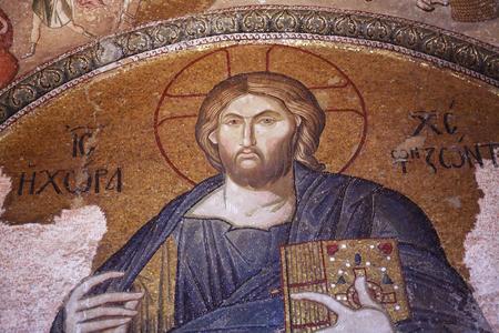 byzantium: Istanbul, Turkey - July 6, 2015: Beautiful ancient Byzantium mosaic fresco in Kariye Mosque, Istanbul, Turkey