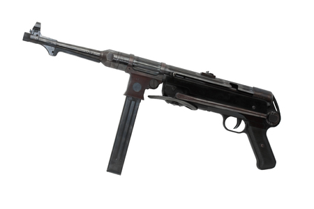 machinegun: World War II German machinegun MP-38 on white background. Isolated with clipping path