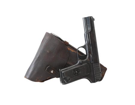 holster: World War II Soviet equipment. Leather handgun holster and pistol Stock Photo