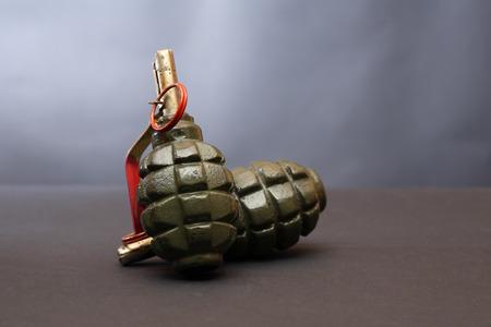 armaments: World War II Soviet equipment. Hand grenades on dark background