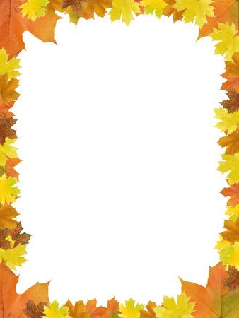 Leuke foto frame gemaakt van droge esdoorn bladeren