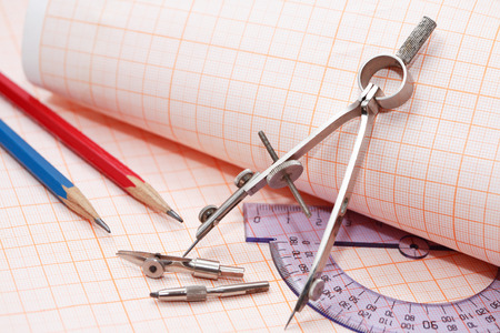rulers: Set of drawing instrument and rulers on graph paper