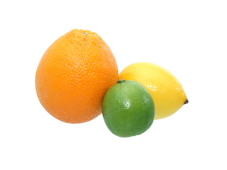frescura: Freshness citrus fruits on white background. Isolated with clipping path Foto de archivo