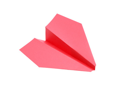 paper airplane: Red paper airplane on white background. Isolated with clipping path