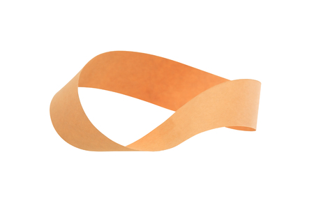 topology: Mobius strip made from paper on white background. Isolated with clipping path Stock Photo
