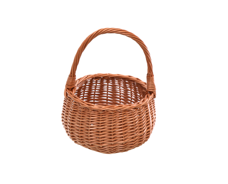 mimbre: Nice empty wicker basket on white background. Clipping path is included
