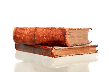 reverberation: Pair of old books on white background with reverberation Stock Photo