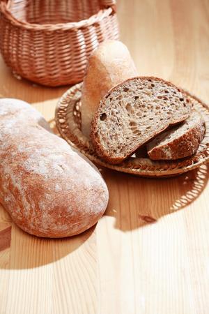 frescura: Farm still life. Freshness bread set on wooden board