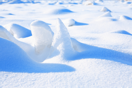 drifting ice: Winter landscape. Closeup of snow and ice under sun