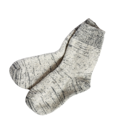 white cloth: Pair of gray wool socks on white background. Isolated with clipping path
