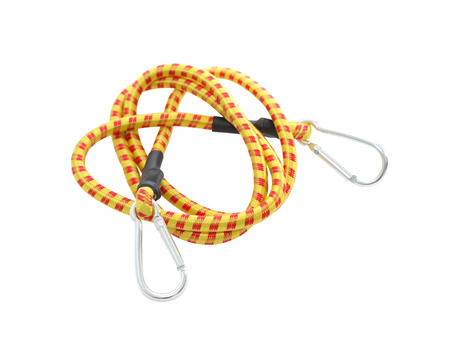 attachement: New elastic rope with clasps on white background. Isolated with clipping path