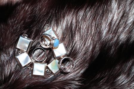 silver fox: Set of silver adornment on fox fur background