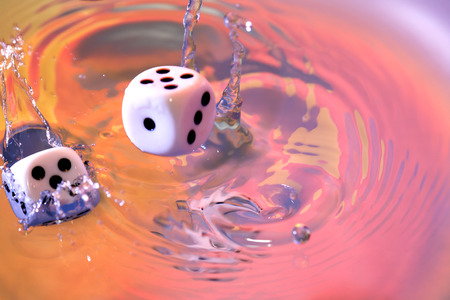 falling cubes: Dice cubes falling in vivid water with splash