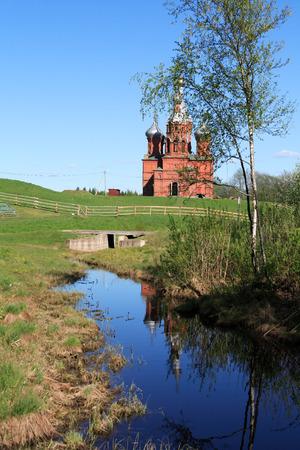 volga: River Volga origin. Old Russian abbey near river Volga origin Stock Photo