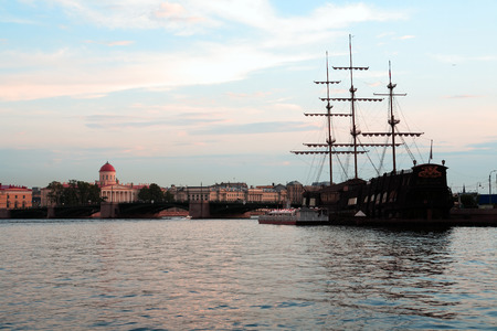 neva: View of Saint Petersburg in Russia across Neva river at sunset