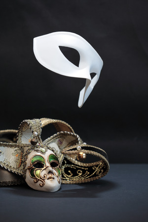 breakout: Theater concept. White classical carnival mask. Performance. Flight. Freedom Stock Photo
