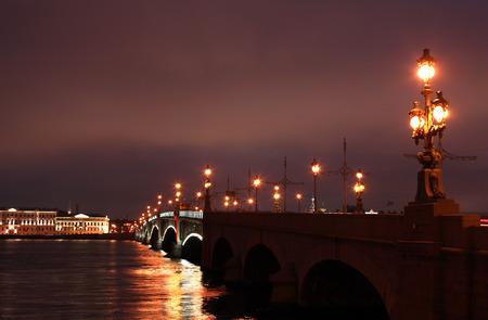 drawbridge: View of drawbridge across Neva river in Saint Petersburg at night, Russia