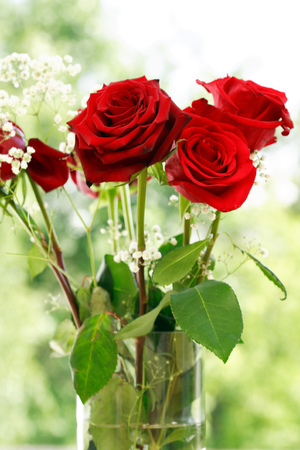 nosegay: Nice red roses bouquet in glass vase Stock Photo