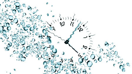 against the clock: Abstract water drops background against clock face Stock Photo