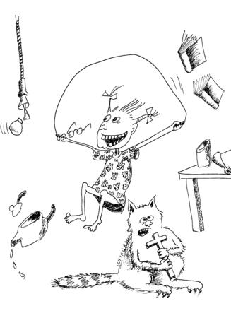 saltar la cuerda: Chica con saltar la cuerda. Mano boceto dibujado con tinta y pluma en el papel