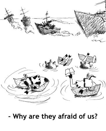 udder: Why are they afraid of us? Hand drawn sketch with ink and pen on paper