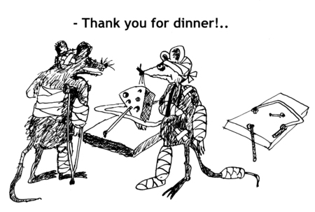 Thank you for dinner! Hand drawn sketch with ink and pen on paper Stock Photo