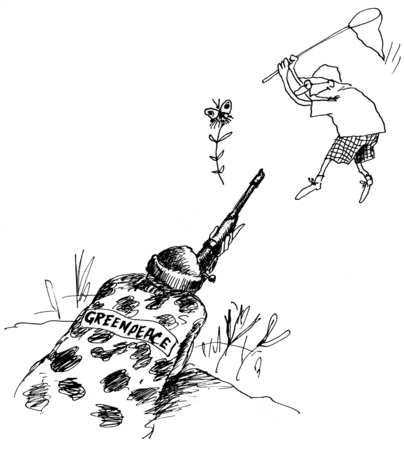 greenpeace: Greenpeace protect the environment! Game over. Hand drawn sketch with ink and pen on paper